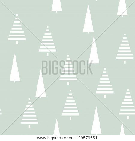 Christmas pattern with trees. Simple, winter, Christmas background graphic with Christmas trees. To print on tissue paper, gift wrapping, packaging. Seamless vector illustration