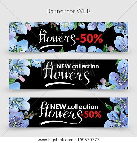 Wildflower cherry flowers promo sale banner template in a watercolor style isolated. Aquarelle wildflower promo sale banner template for background, texture, wrapper pattern, frame or border.