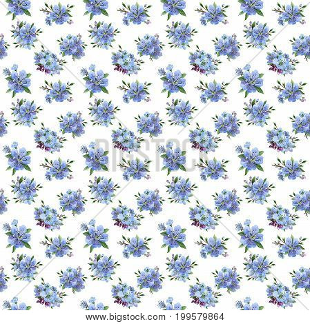 Wildflower cherry flowers flower pattern in a watercolor style. Full name of the plant: cherry flowers. Aquarelle wild flower for background, texture, wrapper pattern, frame or border.