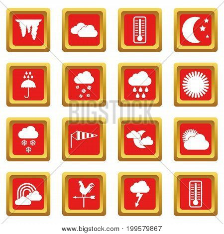 Weather icons set in red color isolated vector illustration for web and any design