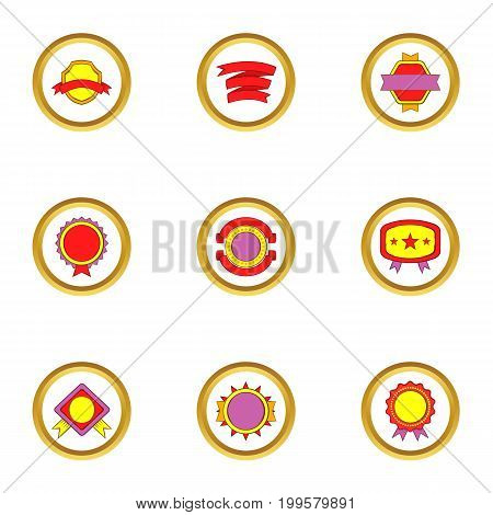 Quality mark icons set. Cartoon set of 9 quality mark vector icons for web isolated on white background