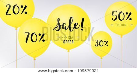 Flying balloons, concept of SALE for shops. Yellow flying party balloons with text SALE. discount concept vector illustration