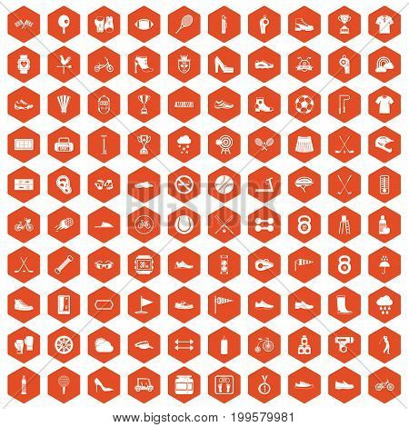 100 sneakers icons set in orange hexagon isolated vector illustration