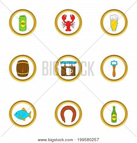 Oktoberfest icons set. Cartoon set of 9 oktoberfest vector icons for web isolated on white background