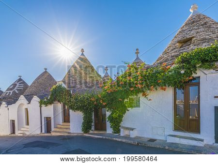 Trulli houses in Alberobello city Apulia Italy.