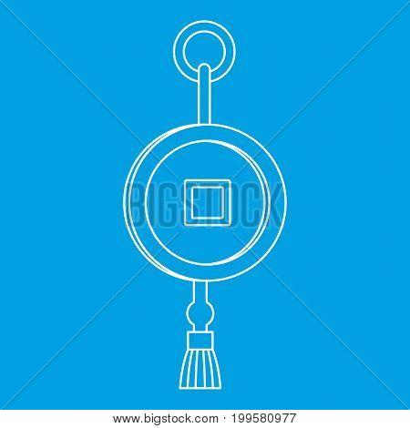Feng shui Chinese coin with hole icon blue outline style isolated vector illustration. Thin line sign