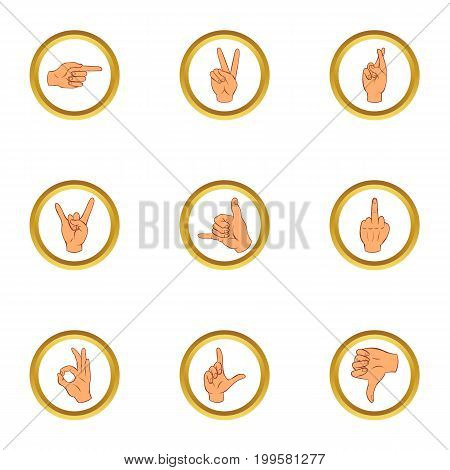 Hand gesture for communication icons set. Cartoon set of 9 hand gesture for communication vector icons for web isolated on white background