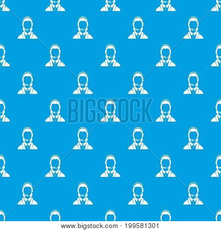 Support phone operator in headset pattern repeat seamless in blue color for any design. Vector geometric illustration