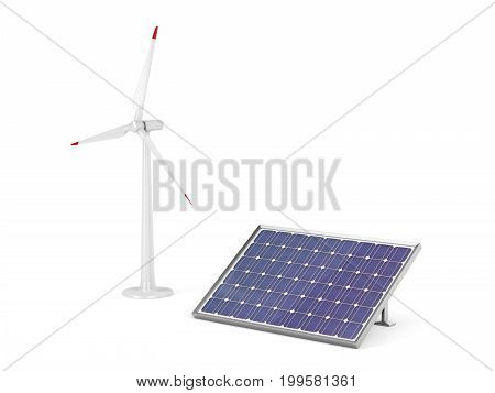 Solar panel and wind turbine for generating clean electricity, 3D illustration