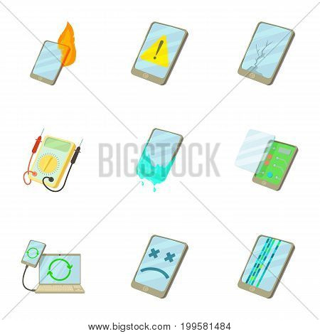 Phone disassembled icons set. Cartoon set of 9 phone disassembled vector icons for web isolated on white background