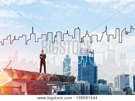 Confident businessman in suit looking away while standing on broken bridge with sketched cityscape and sunlight on background. 3D rendering.
