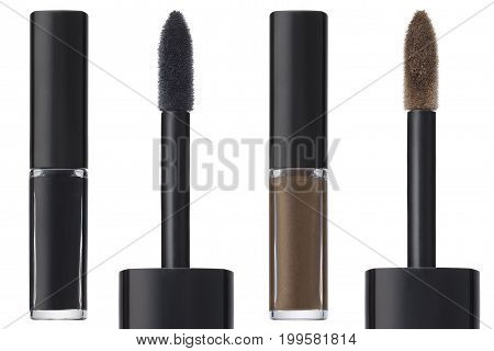 Mascara black and brown isolated on white background isolation