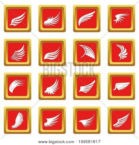 Wing icons set in red color isolated vector illustration for web and any design