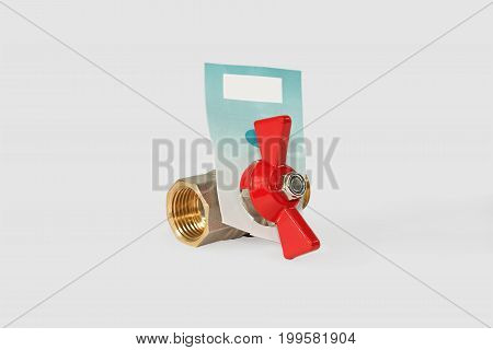 Ball valve half-turn. Isolated on gray background.