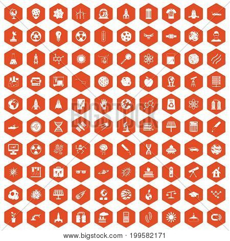 100 space technology icons set in orange hexagon isolated vector illustration