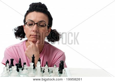 pondering chess player