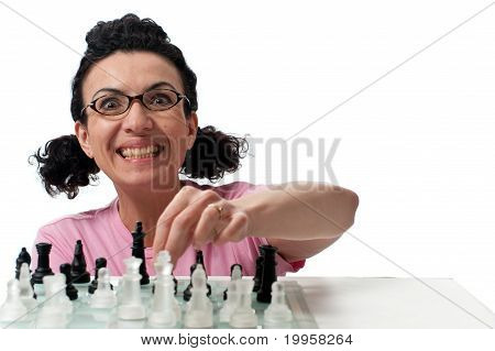 geek playing chess