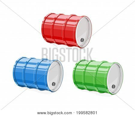 Metal barrel for oil. Equipment transportation fuel. Isolated white background. Vector illustration.