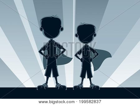 Two little boys posing like superheroes in front of light.