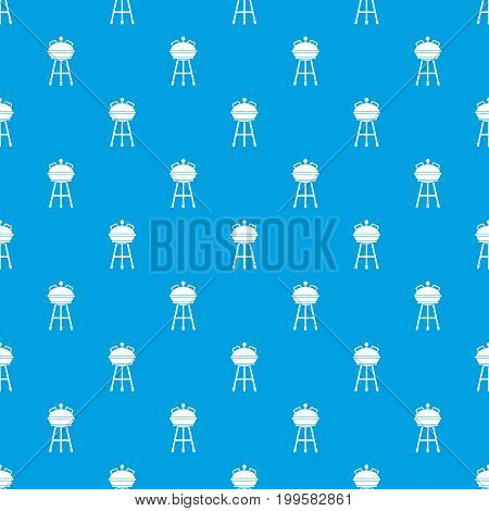 Kettle barbecue pattern repeat seamless in blue color for any design. Vector geometric illustration