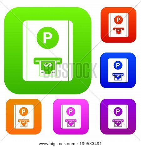 Parking fee set icon in different colors isolated vector illustration. Premium collection