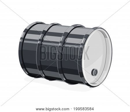 Black metal barrel for oil, isolated white background. Vector illustration.