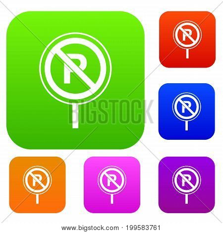 No parking sign set icon in different colors isolated vector illustration. Premium collection