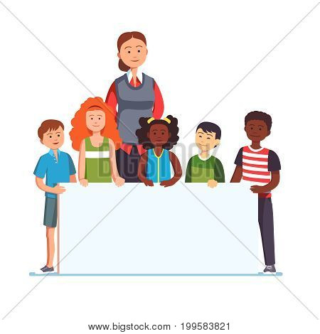 Woman teacher with multiracial group of kids standing together holding white blank banner. School education presentation concept template. Flat style modern vector illustration isolated on white.