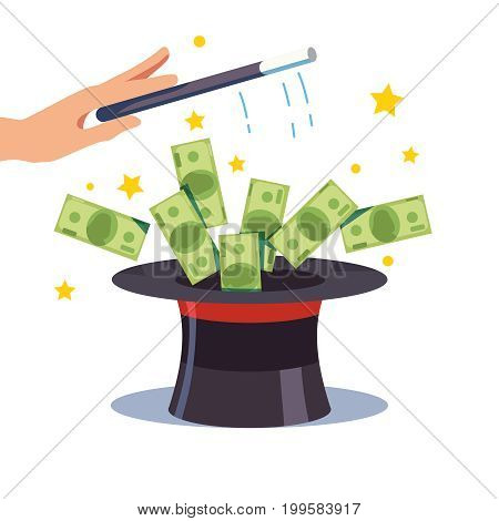 Doing money from thin air. Banknotes flying out of the magicians cylinder hat. Sorcerer hand holding magic wand. Business success or fraud concept. Cash from nothing. Flat style vector illustration.