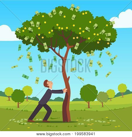 Businessman shaking tall cash tree with dollar banknotes, golden coins. Money flying down falling on ground. Successful man business project investment income concept. Flat style vector illustration.
