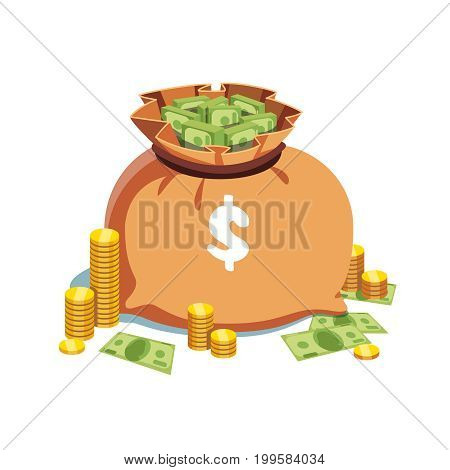 Big heavy sack full of money with dollar sign on it standing next to the golden coin stacks and some banknotes. Flat style modern vector illustration isolated on white background.