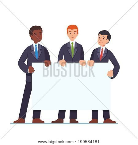 Three businessmen standing together and holding white blank banner. Business presentation concept. Ad template. Flat style modern vector illustration isolated on white background.