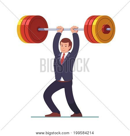 Smiling businessman lifting big heavy barbell up over head achieving his goal. Business challenge and success concept. Flat style modern vector illustration isolated on white background.
