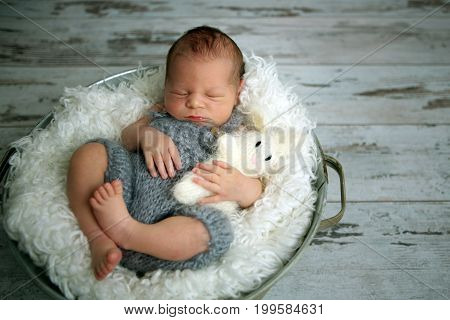 Newborn Baby Boy, Sleeping Peacefully In Basket, Dressed In Knitted Outfit,