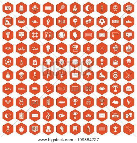 100 stadium icons set in orange hexagon isolated vector illustration