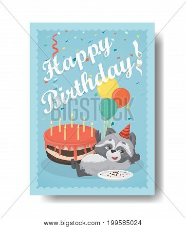Happy birthday raccoon with cake. Birthday gift card with decoration.