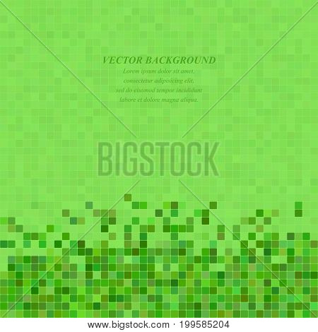 Green abstract pixel square mosaic background design