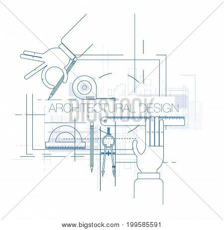 Engineering and architecture design. Flat style. Engineering workplace with tools. Technical drawing Industrial architecture.
