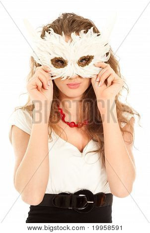 Beautiful Woman In Dress Holding A Mask Isolated