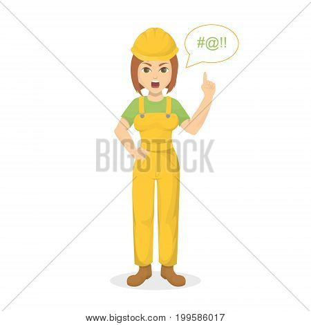 Isolated angry female worker with bad words on white background.