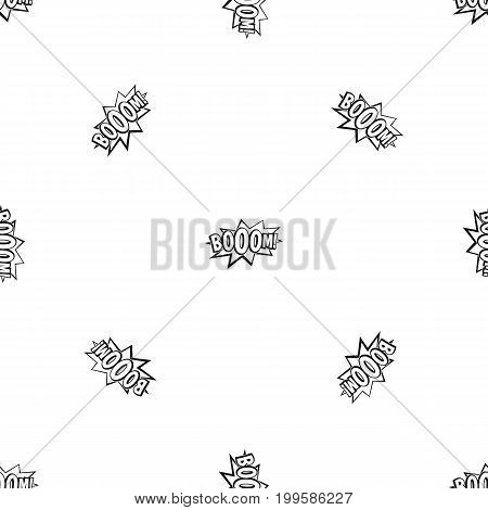 Boom, explosion bubble pattern repeat seamless in black color for any design. Vector geometric illustration