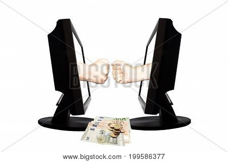 Virtual game by internet stone - scissors - paper thwo hands represent stone and stone from displays on white background. Down are money.
