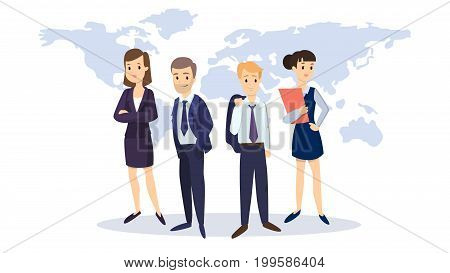 Business team with world map on background. Idea of teamwork.