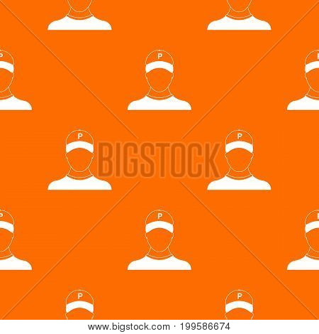 Parking attendant pattern repeat seamless in orange color for any design. Vector geometric illustration