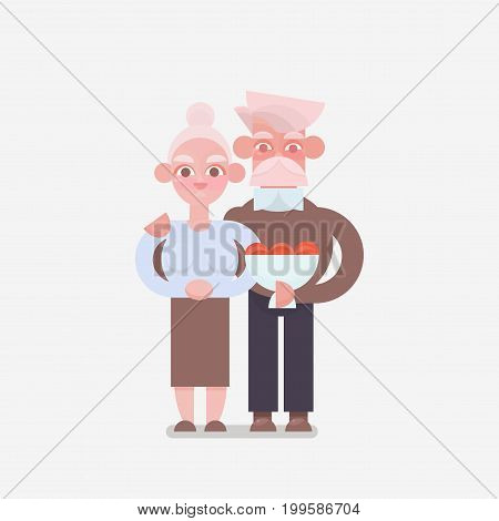 Senior couple in love. grandparents in an embrace with a bouquet. Vector illustration.