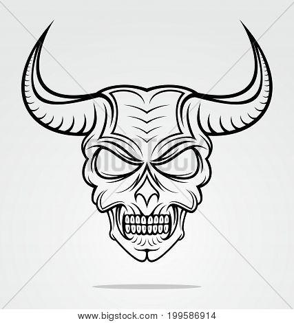 Demon or devil head with horn vector illustration