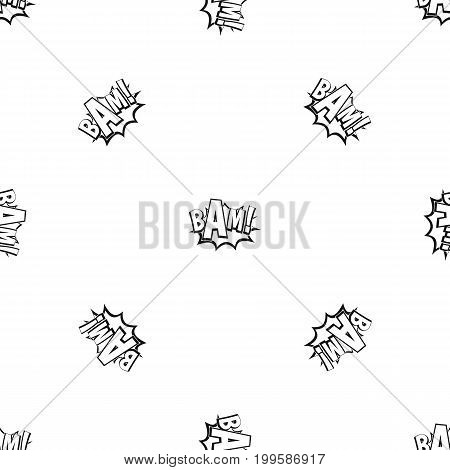 BAM, comic book bubble pattern repeat seamless in black color for any design. Vector geometric illustration