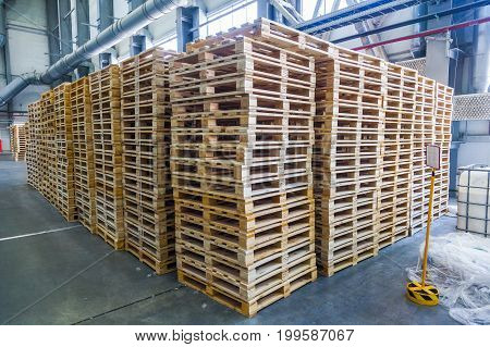 Wooden pallet in the production warehouse factory