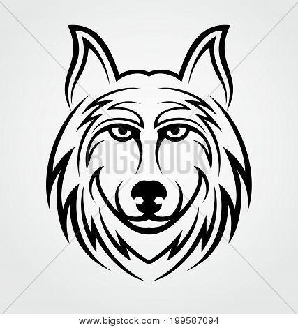 Wolf head tribal vector  illustration tattoo design