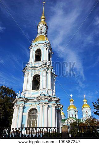 Bell tower of Saint Nicholas Naval Cathedral in Saint Petersburg